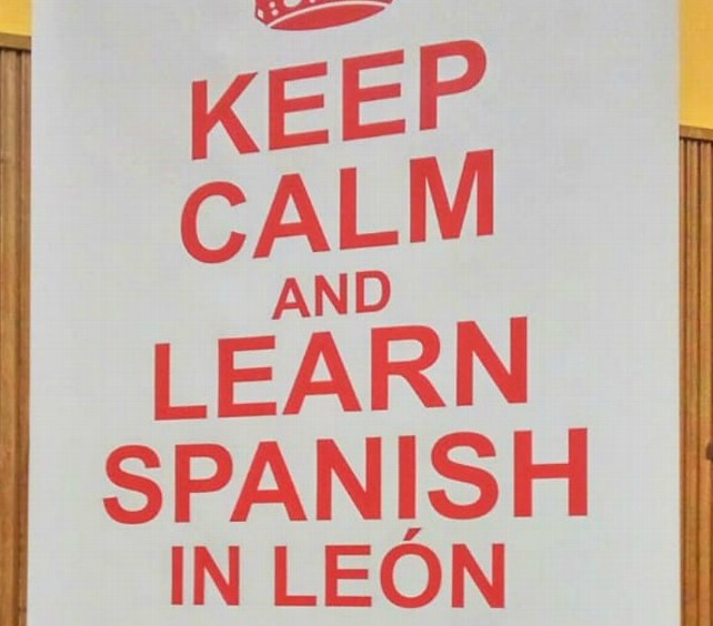 Cartel 'Keep Calm and learn spanish in León'